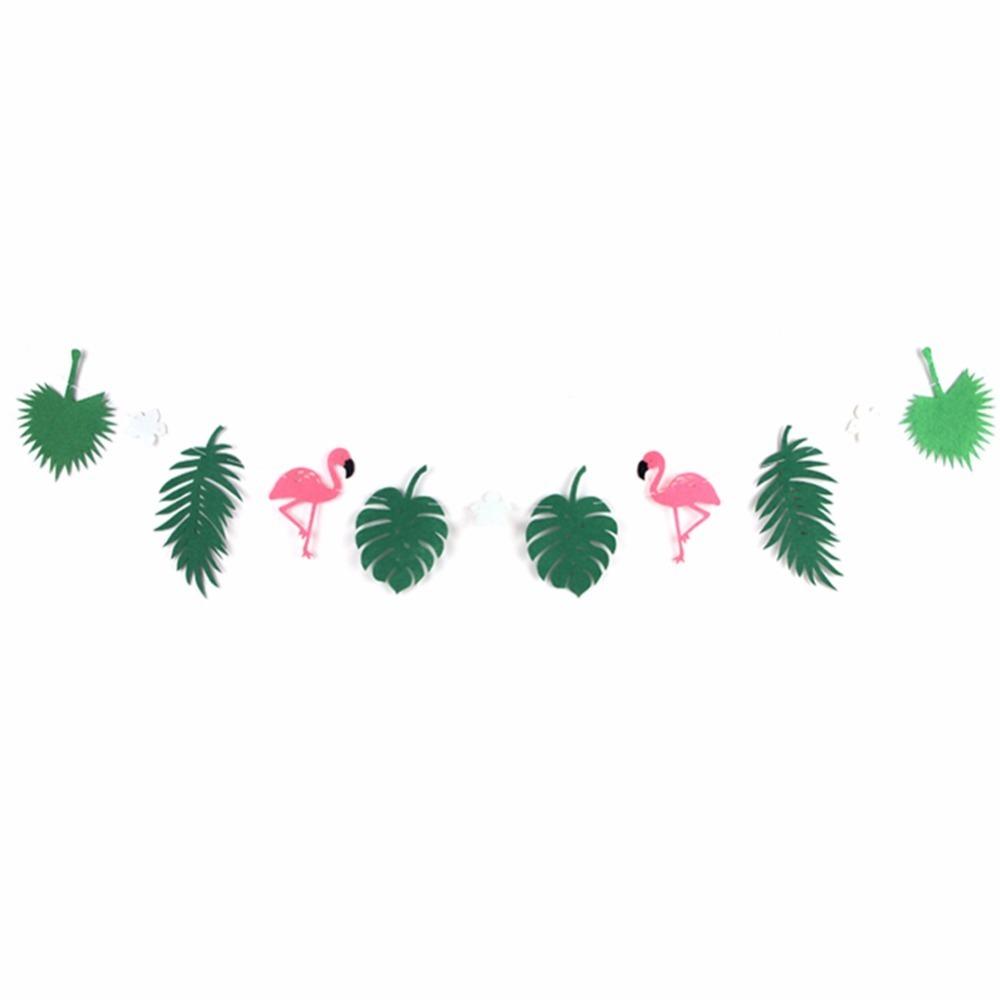 D/éco De Fete Jungle Tropicale F/ête Fournitures Feuilles De Noix De Coco Guirlandes Flamant Rose Banni/ère B/éb/é Douche F/ête DAnniversaire D/écorations Enfants Mariage D/écor Flamant Rose