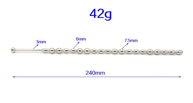 Electro Shock 240mm Long Beads Stainless Steel Urethral Sounds Catheter With Penis Ring Electro Penis Plug Dilator Sex Toys For Man