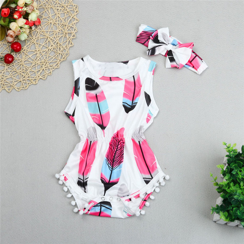 2PCS Summer Babys Romper Infant Kids Girls Sleeveless Tassel Feather Romper Jumpsuit+Headband NDA84L18 (2)