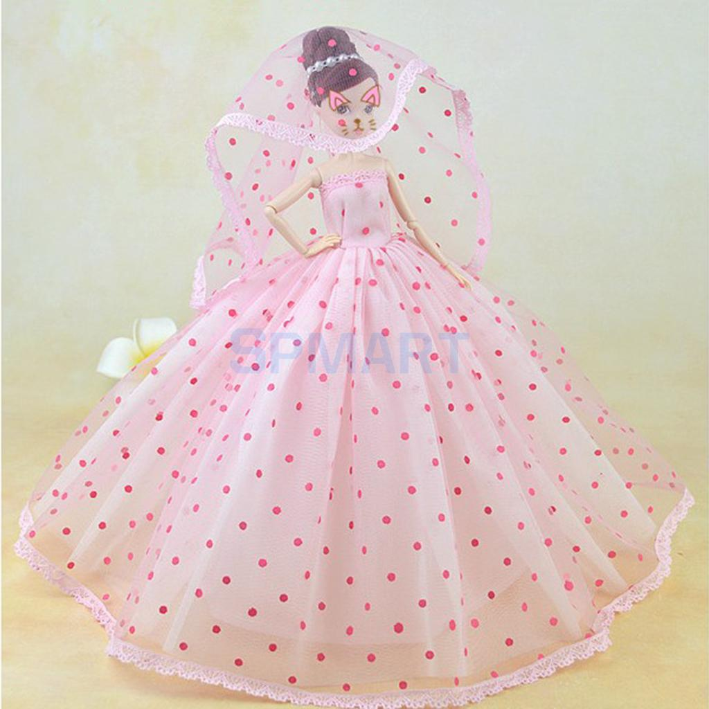 Charming 3-Layers Dress Gown Veil Clothes for Barbie for DOD Dollfie 1/6 BJD Doll Wedding / Party Outfit