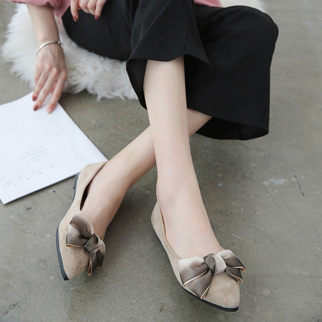 Designer Dress Shoes Muqgew Elegant Spring Autumn Women's Casual Pointed Toe Butterfly-knot Shallow Slip On Single For Girl And Women #1211