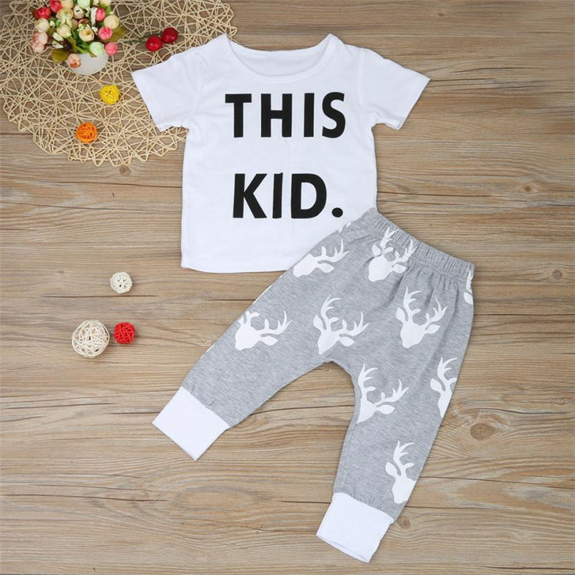 2PCS Baby Boy Sets Toddler Kids Baby Boy Short Sleeve Letter Print T-shirt+Deer Print Long Pants Set Baby Boy Clothes M8Y16 (4)