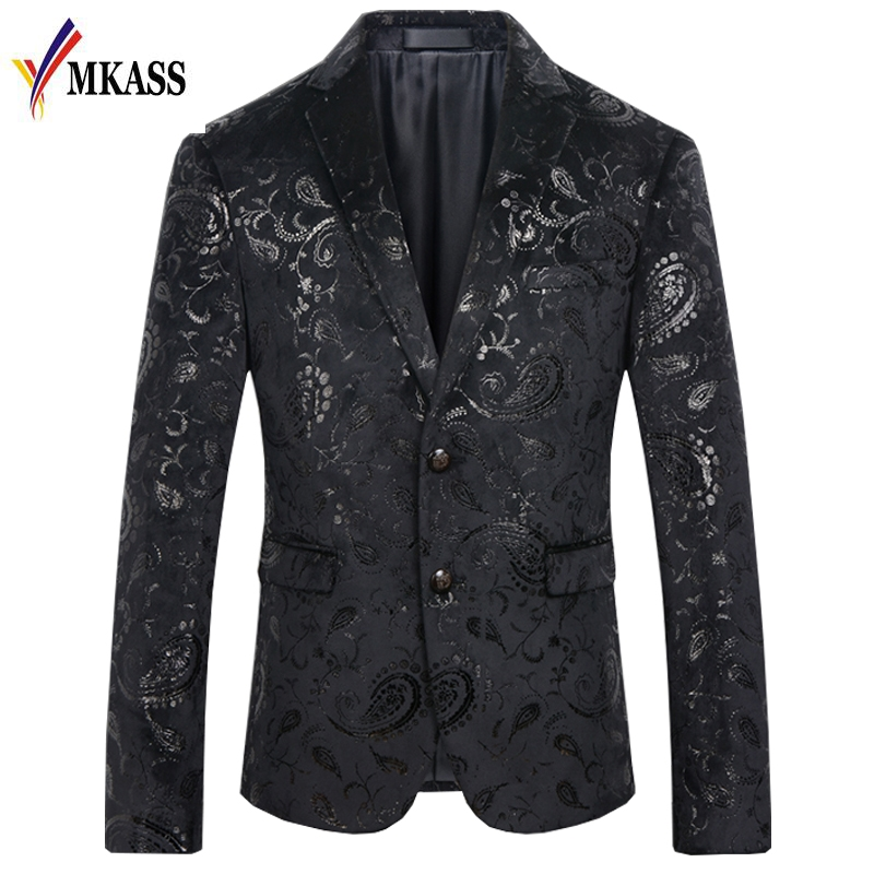 Mens 1-Button Peaked Lapel Hipster Nightclub Printing Suit Blazer Jackets