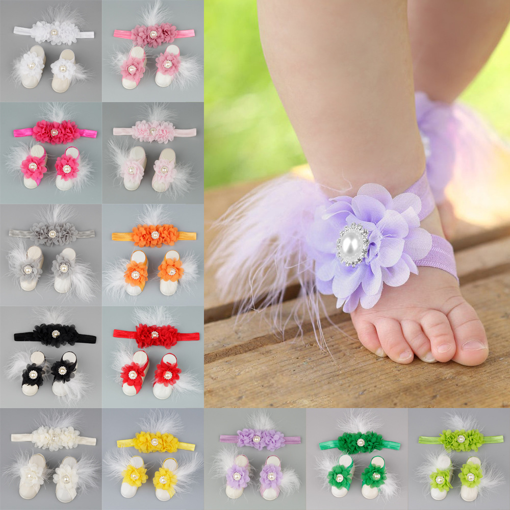3pc//set Baby Girl Kids Barefoot Sandals Shoes Headband Crystal Flowers Foot Band