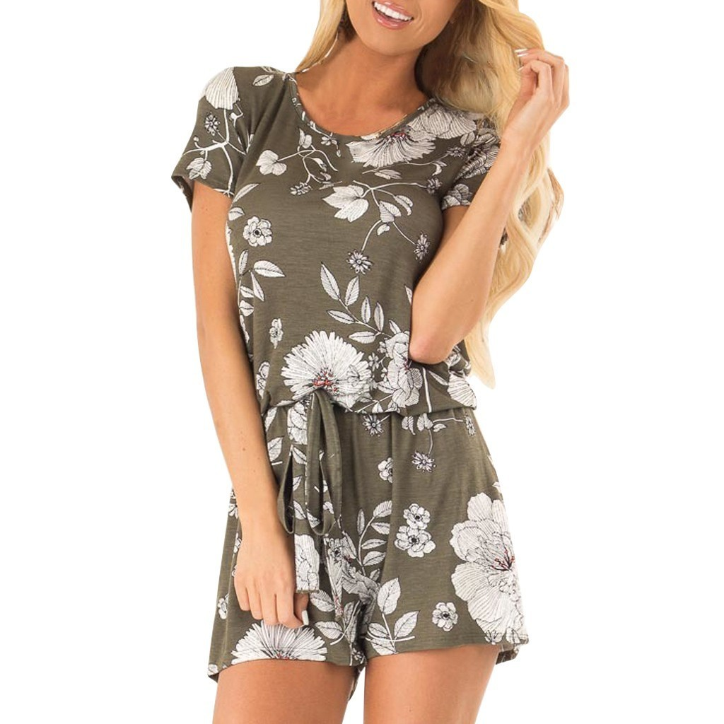 Fashion Womens Summer Loose Floral Printed Knot Strap Short Jumpsuit Rompers High Street Sexy Jumpsuit Summer Overalls For Women T3190605