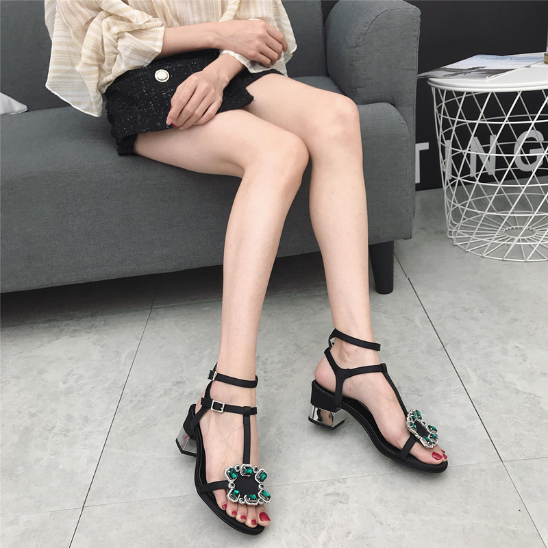Sexy2019 Bring Ring One Foot Coarse Silks Satins Noodles Rhinestone Square Buckle Sandals Woman