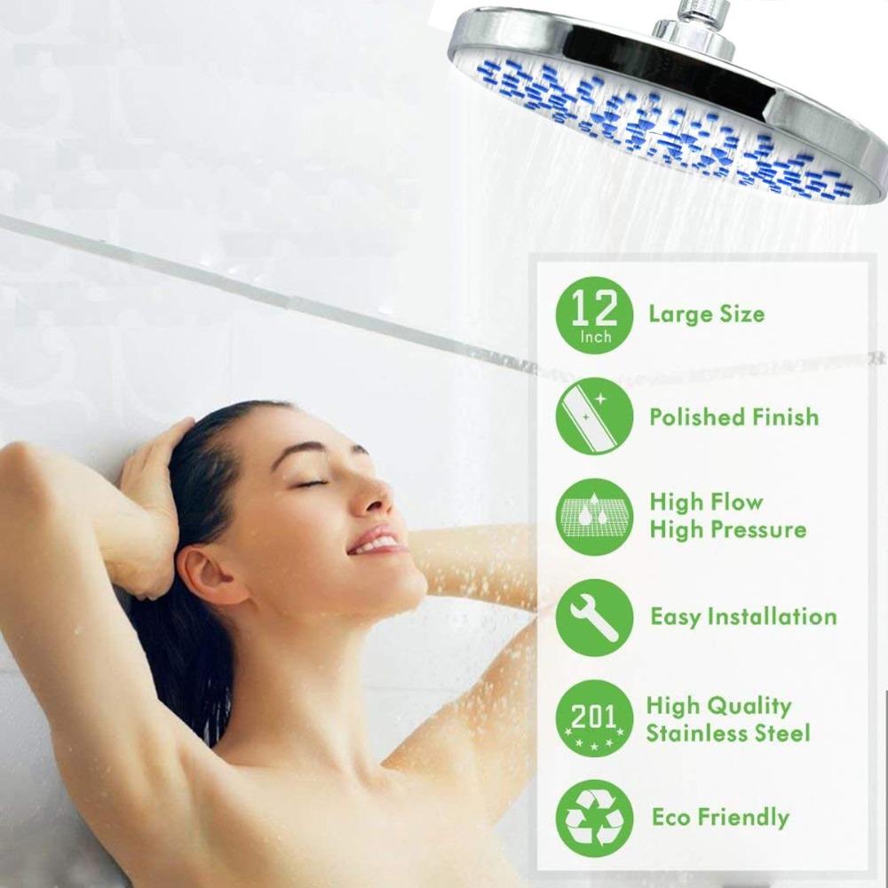 Swivel Large 8 Round Fixed Rainfall Shower Head Bath Sprayer Chrome Uk Seller