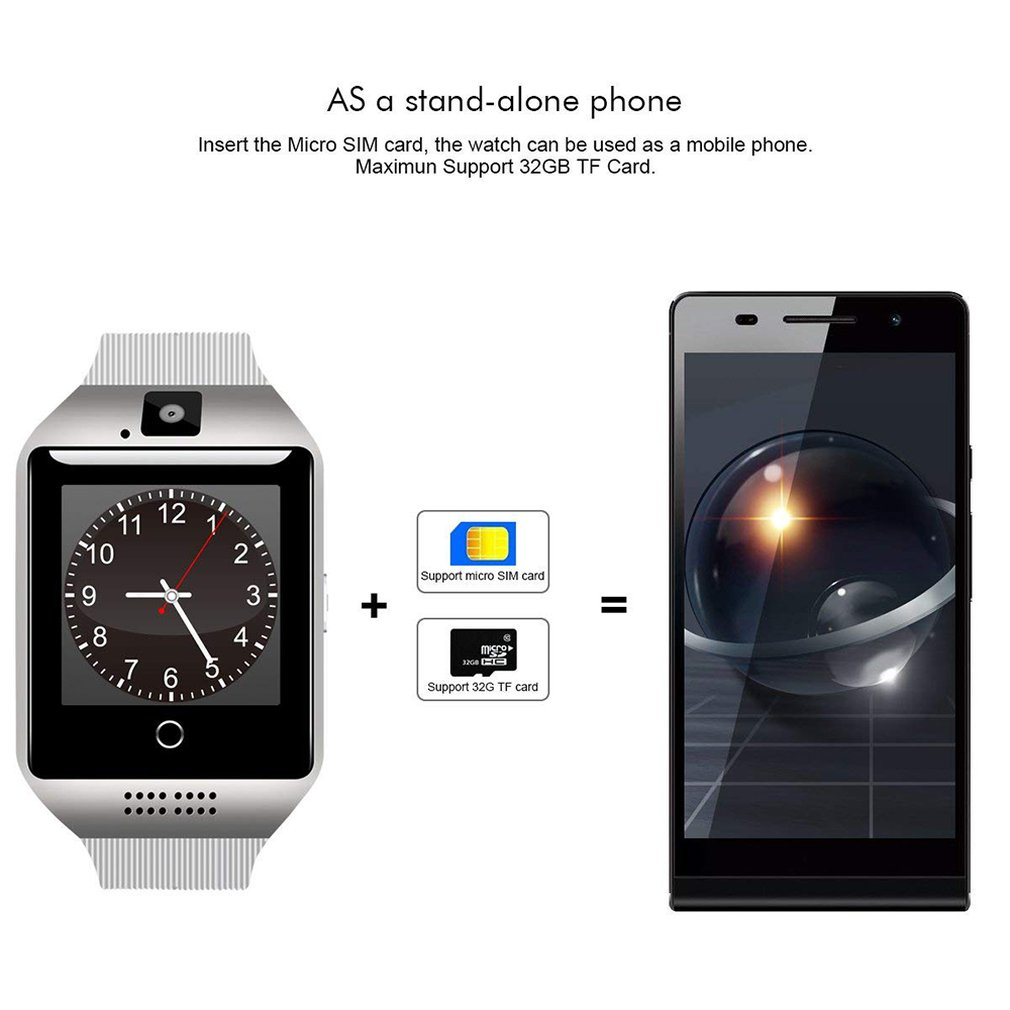 Q18 Smart Watch Multi-Language Sim Card Curved Touch Screen Phone Call Smartband For Women Men Sport Wristwatches Clock
