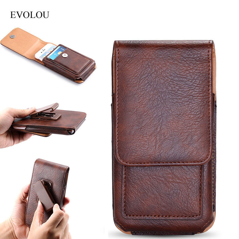 EVOLOU Vertical Waist Bag Belt Clip Leather Case for iphone 7 6s Plus Universal Phone Bag for Xiaomi Huawei LG Holster Card Slot