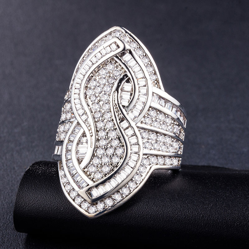 8-shaped Full Diamond silver jewelry rings for Women luxury designer Hot Sell pandora Crystal Gemstone shining prom 925 joyas de plata