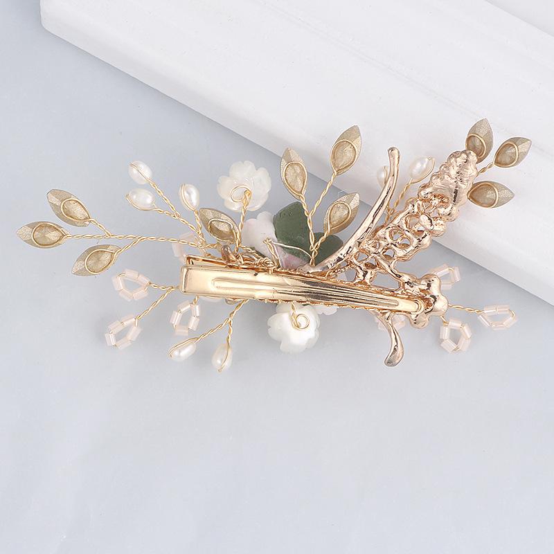 Handmade Fashion Hair Clip Rhinestone Flower Barrettes Accessories Birthday Girls Headdress Gifts Artificial Flower Side Clips