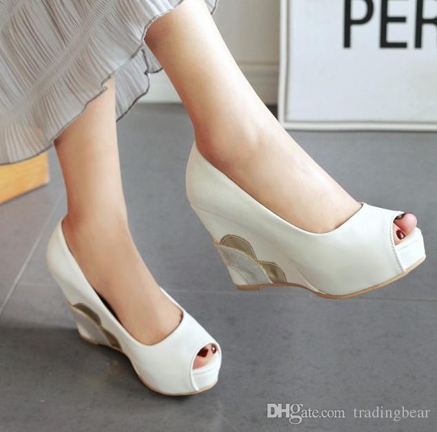 Charm2019 Elegante T Strap Rivets Plataforma Wedge Sapatos de Casamento Mulheres Sapatos de Dança de Salão Verão Para