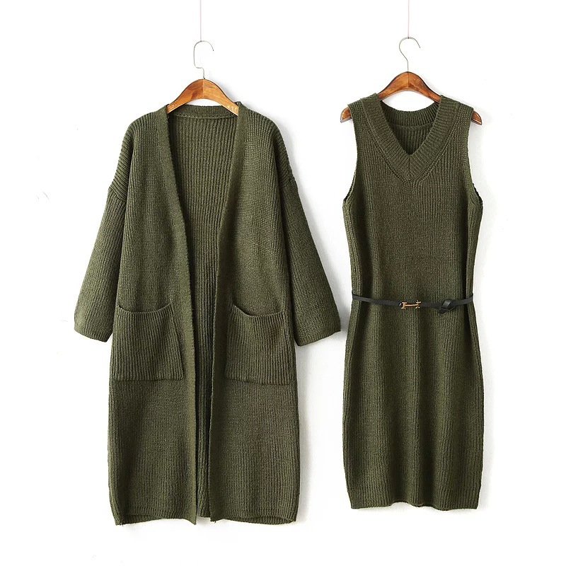 Set Women Long Sleeve Cardigan Knitted Dress Two Piece Sets Chothes Office Lady Army Green Twinset Romper Dress Suit