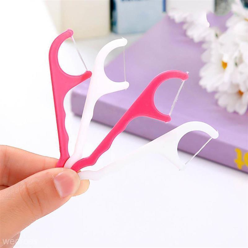 Plastic Dental Floss Stick Nylon Wire Portable Teeth Care Cleaner Tooth Cleaning Tools Set For Oral Hygiene D19011606
