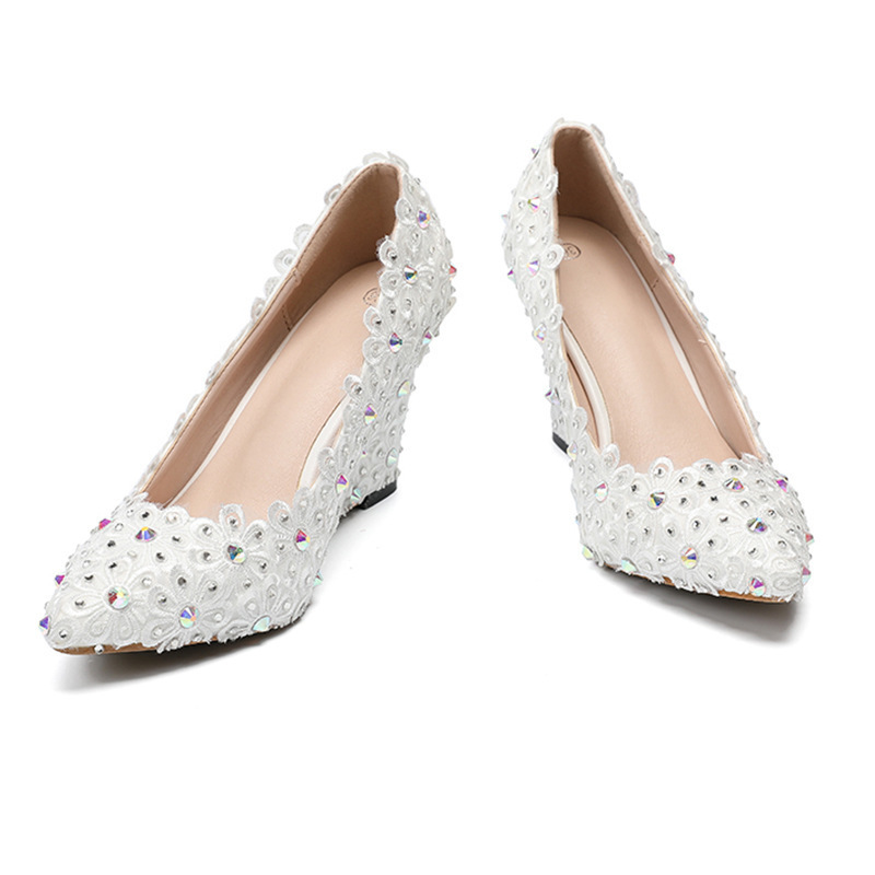 225acf5ee Wedding Pumps For Women Wedges Shoes White Lace Flowers Nice Stone Colorful  Crystal Blossom Pointed Toe