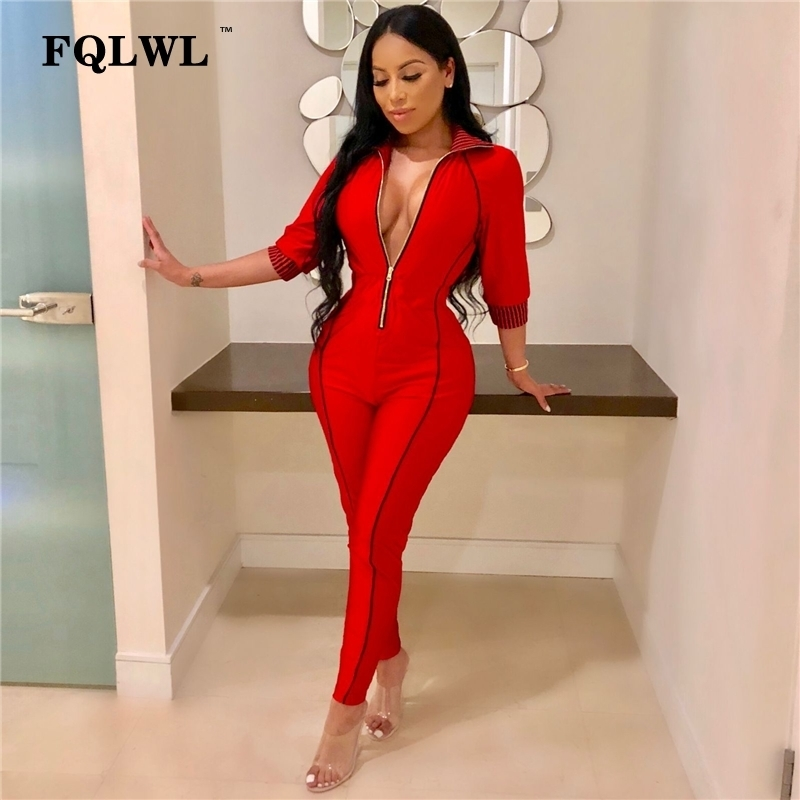 Fqlwl Streetwear Bodycon Sexy Jumpsuit For Women 2018 Autumn Winter Zipper Long Sleeve Romper Womens Jumpsuit Female Overalls Y19071701