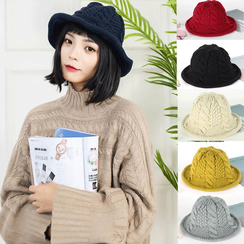 Fleur Femme hiver tricot crochet Slouch Baggy Bonnet Crochet Ski Cap Beret