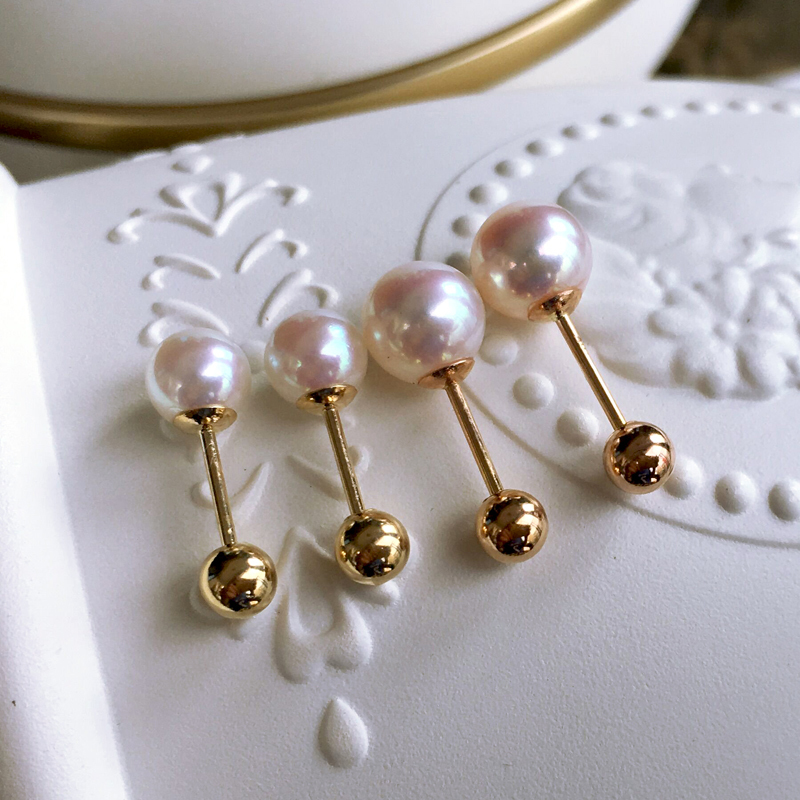 Sinya Natural Round pearls 18k gold beads stud earring for women screw gold ball tight design DIY wear earring 2018 fashion sale (14)