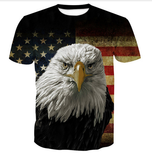 Women Men Casual 3D Print T-Shirt Short Sleeve Top Tee American Flag Eagle