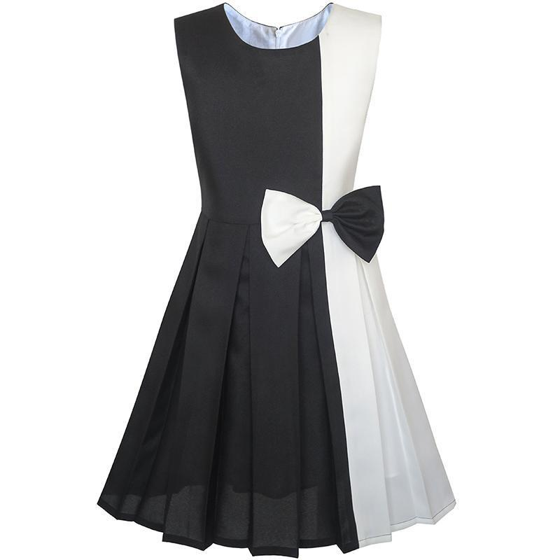 Girls Dress Color Block Contrast Bow Tie Everyday Party 2019 Summer Princess Wedding Dresses Clothes Size 4-14 J190712