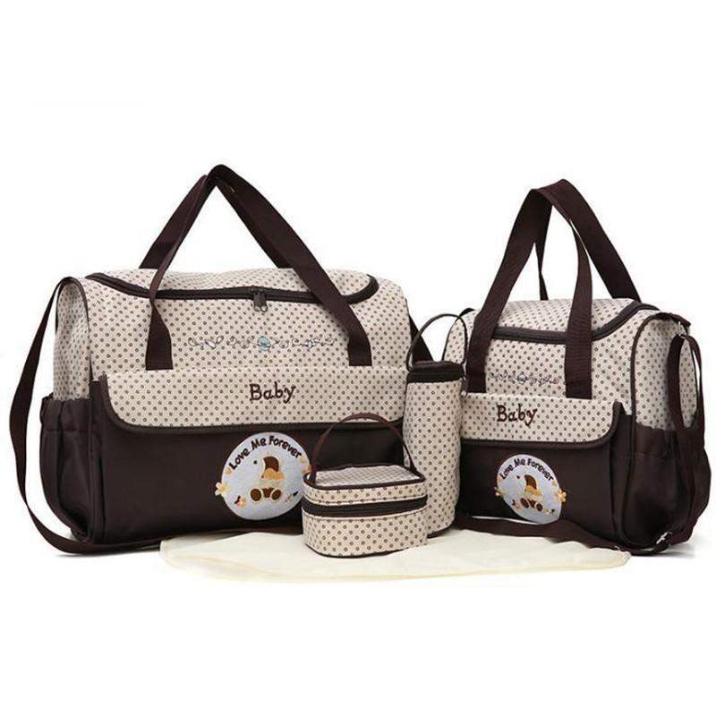 CROAL CHERIE 381830cm5pcs Baby Diaper Bag Sets changing Nappy Bag For Mom Multifunction Stroller Tote Bag Organizer (12)