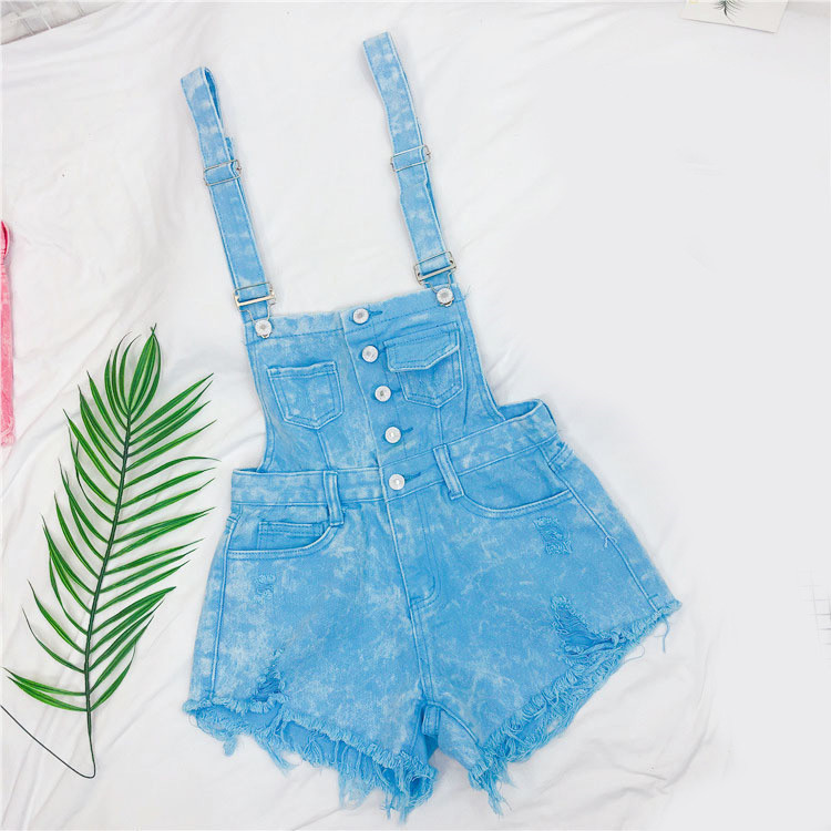 The new loose-fitting Korean version of the springsummer 2017 denim suspenders for female students shows a trend of slim, worsted fringed tassel shorts (12)