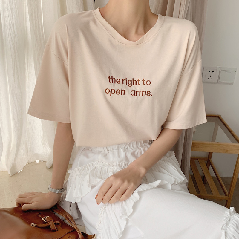 Nijiuding 2019 Nuevas Letras Lindas Coreanas Bordado Camiseta de Manga Corta Mujeres Ocasional Floja Camiseta de Verano Harajuku Girls