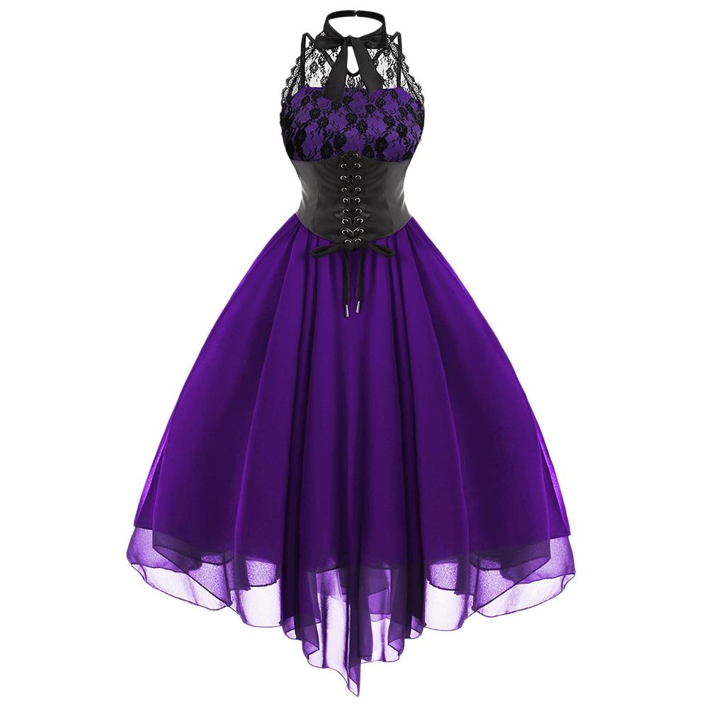 Wipalo 2019 Gothic Bow Party Women Vintage Black Sleeveless Cross Back Lace Panel Corset Swing Dress Robe Vestidos Femme J190714
