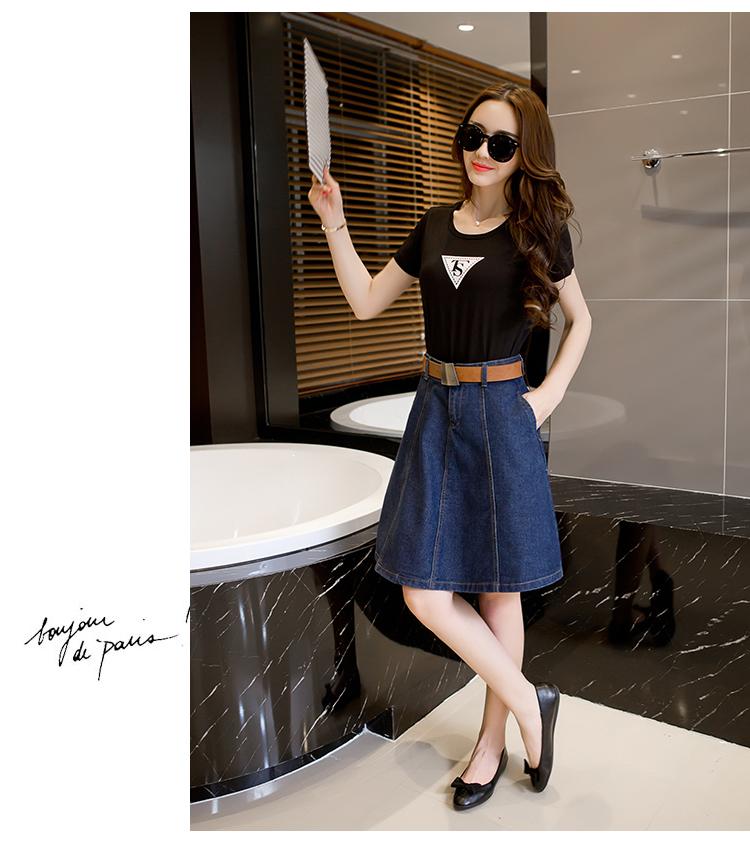 6018 Denim High Waisted Skirts Womens Plus Size A-line Knee Length Elegant Work Wear Jeans Skirt Women 2019 Spring Autumn Skirts 1