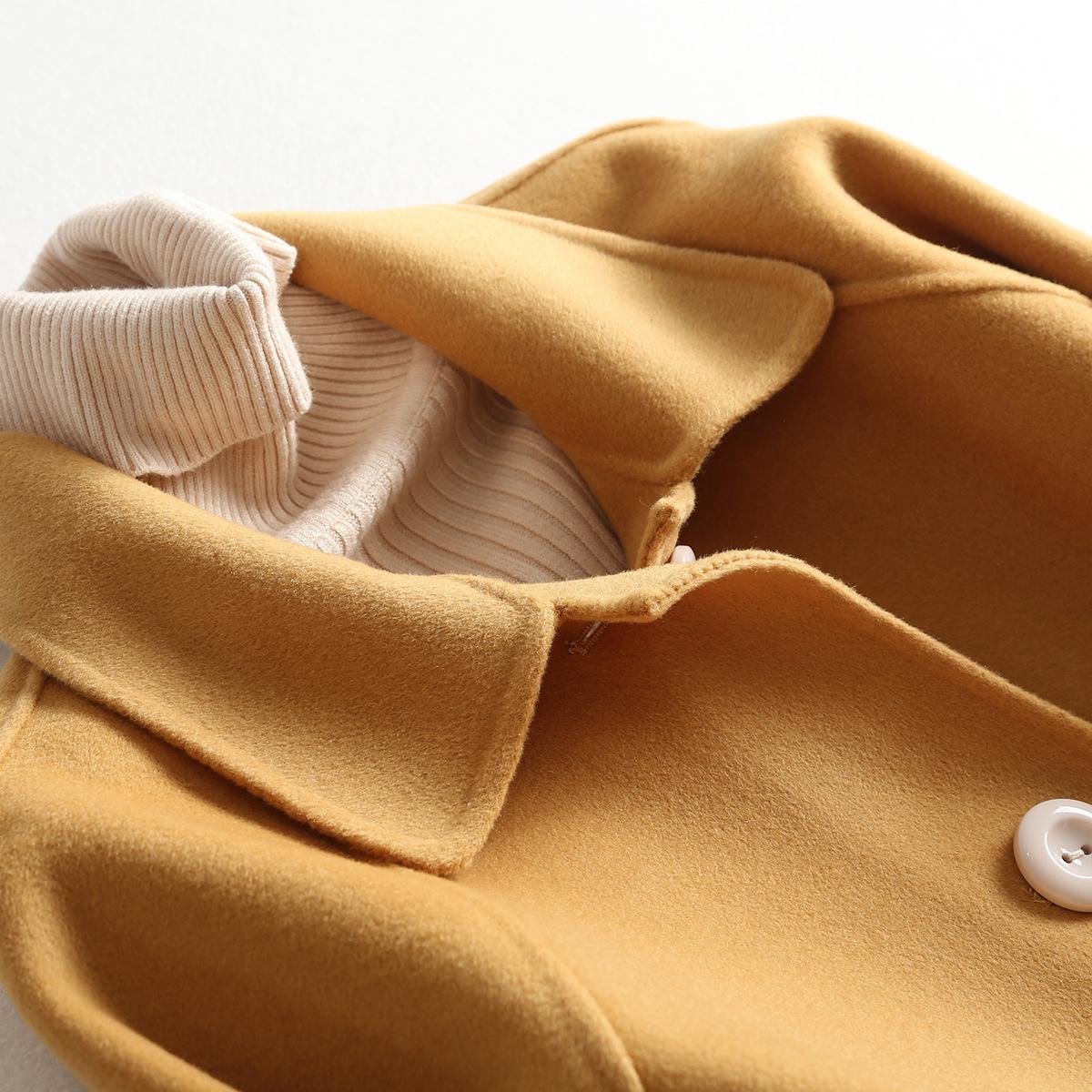 Tempérament jaune Longue Fonds Double face Cachemire Manteau Littérature japonaise Vent Une poupée plomb Manuel manteaux de laine femme Loose Livraison gratuite