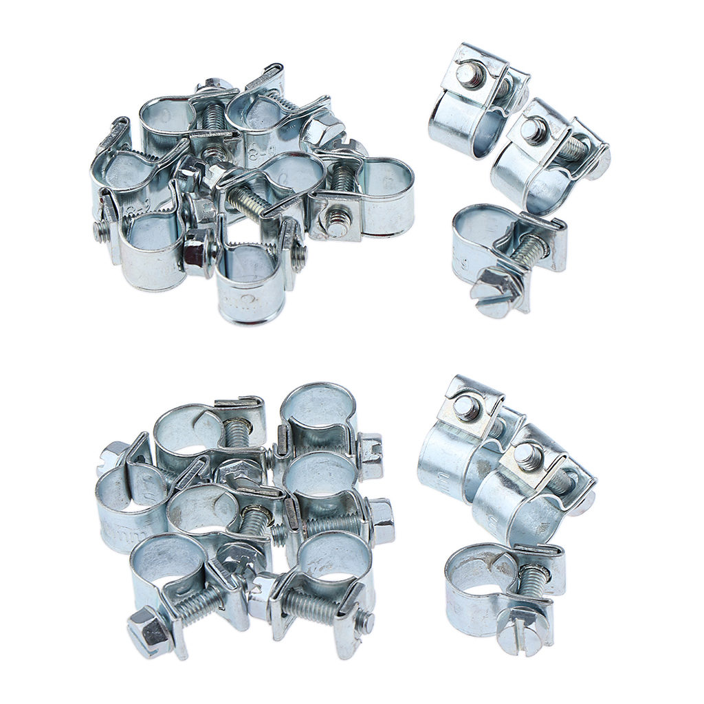11mm - 13mm 20 Pcs Two-Ear O Clip Hose Clamp 5mm-13mm,Zinc Plated Stainless Steel Hose Clips Tube Clamps for Automobile Fule Petrol Pipe Air Hose Water Pipe Fastener Clips