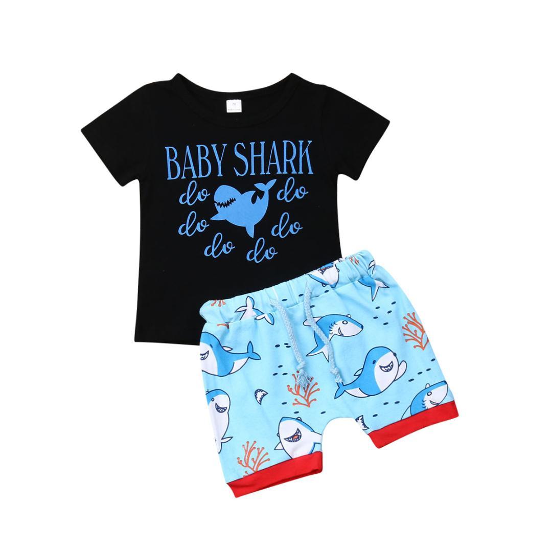 Blaward Baby Jungen Kurzarm Shark T-Shirt mit gestreiften Shorts Hosen Set