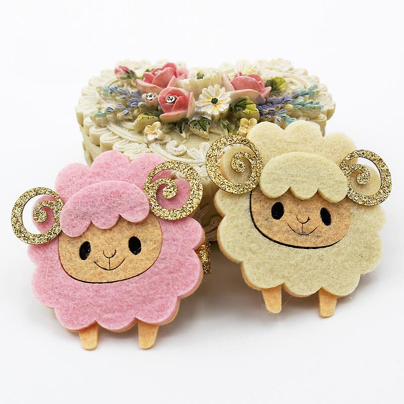 Boutique Cute Glitter Sheep Hairpins Solid Felt Cartoon Animal Hair Clips Princess Headware Fashion Hair Accessories