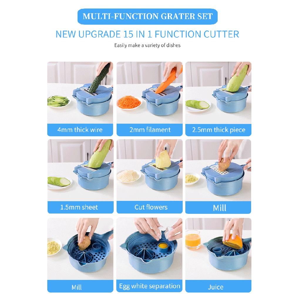 15 In 1 Vegetable Cutter Chopper Dicer Shredder Egg Separator Mandoline Slicer Spiralizer Grinder Grater With Strainer Container