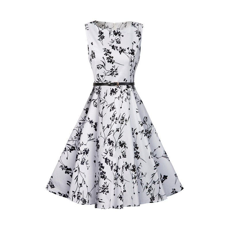 Kostlish 2017 New Summer Dress Women Floral Print Audrey Hepburn 50s 60s A-Line Vintage Dress Sleeveless Party Dresses Plus Size (138)