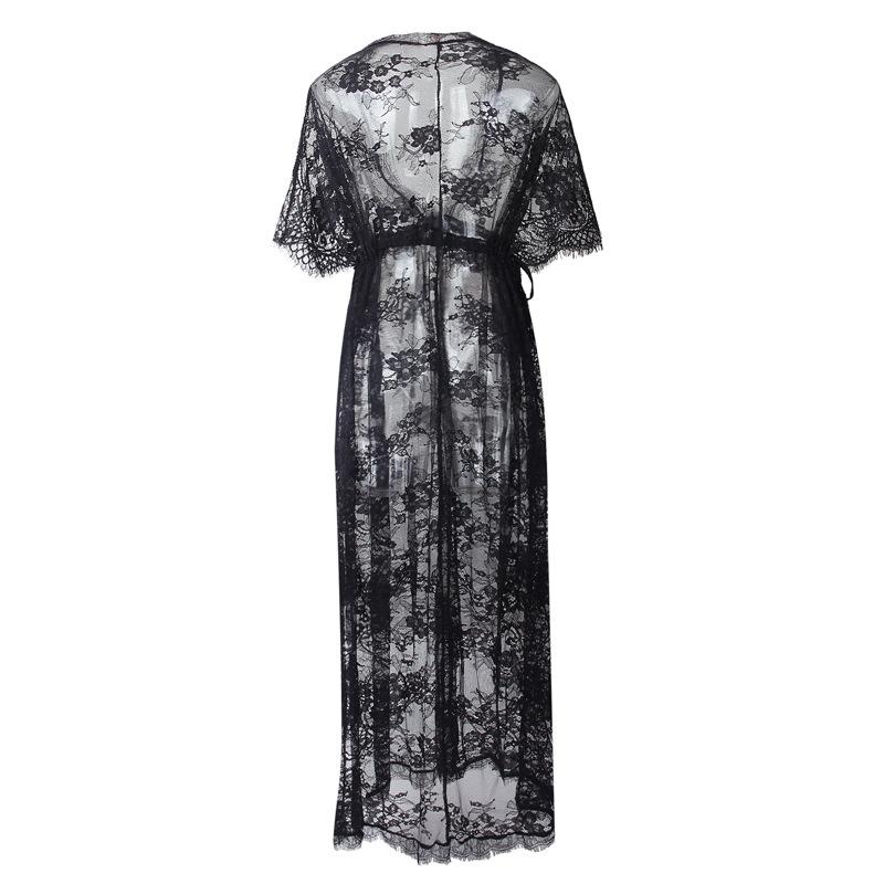 Woman Summer Beach Dress Sexy See Through Deep V Neck Lace Fabric Split Long Dress Frock Beachwear Robe Blanche Dentelle Longue