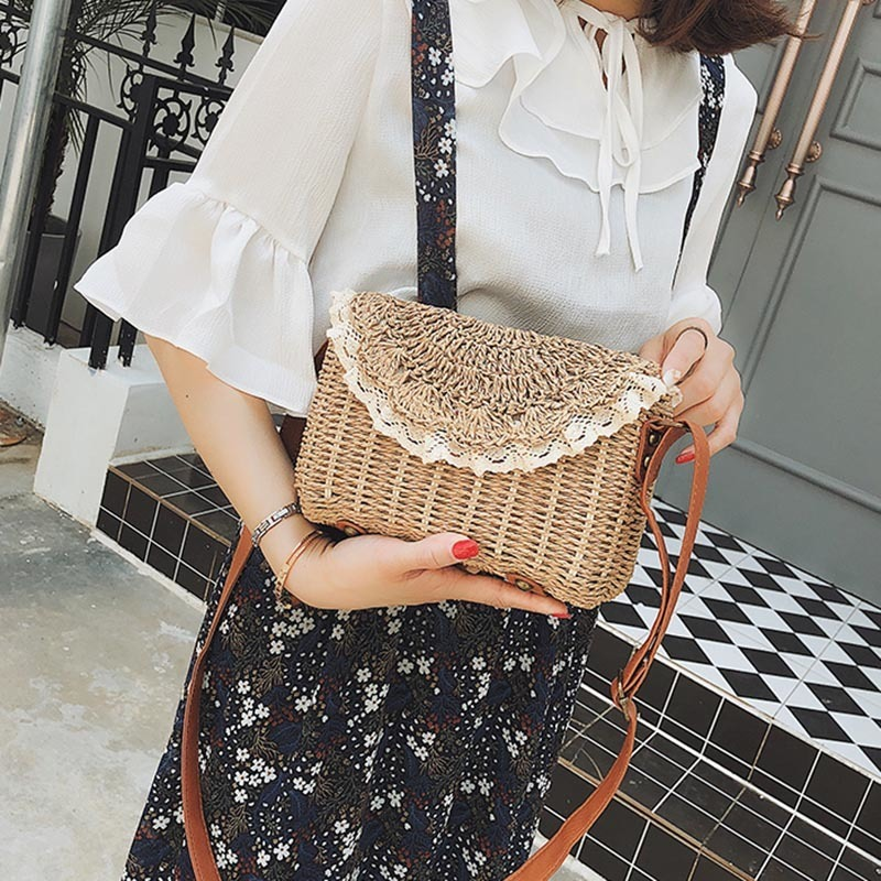 Women Lace Straw Bags INS Popular Female Holiday Handbag Summer Hot Lady Weave Shoulder Bag Travel Beach Casual Bolsa SS3150 (10)