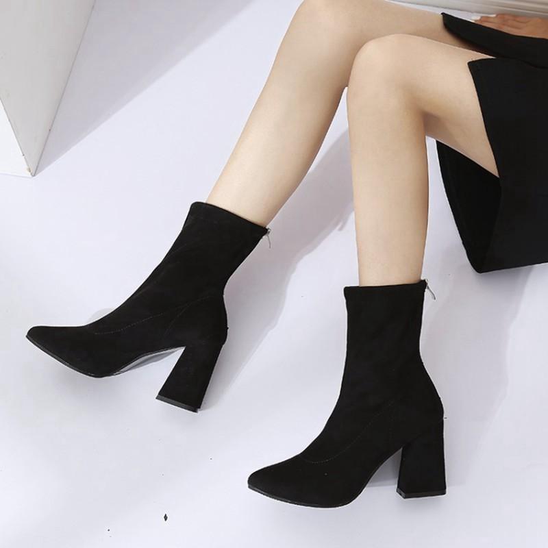 COOTELILI Fashion 8.5cm High Heels Ankle Boots For Women Black Autumn Winter Shoes Women Zipper Pumps Ladies Boots 35-39 (2)