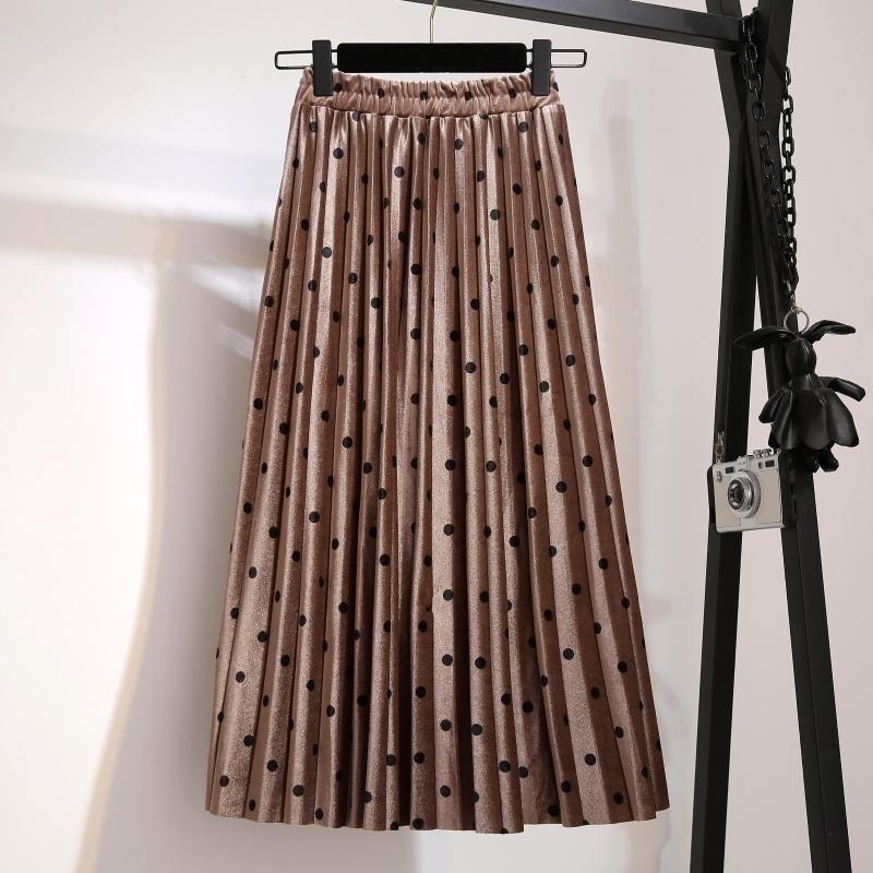 Pleated Skirts Women Spring Autumn Saia Midi High Waist Faldas Mujer Moda Plus Size Jupe Femme Vintage Velvet Dots Ladies Skirt MX190731