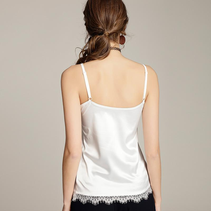 Summer Silk Tank Top 2017 Women Sexy V Neck Sleeveless Basic Tops Blusas Casual Womens Vest Lace Camisole Crop Tops For Lady3