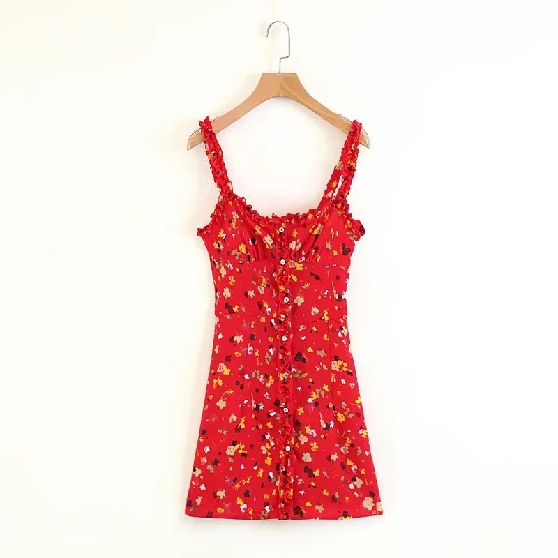 Summer Mini Dress 2019 Sweet Women Red Floral Sling Dress Sexy Abiti senza maniche J190611