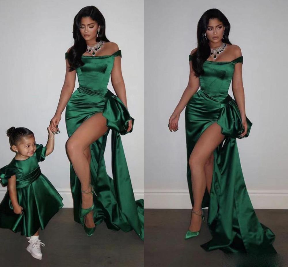 smaragdgrün aus schulter kleid online großhandel