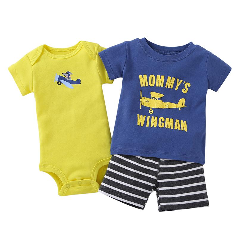 newborn clothes boy summer set cotton o-neck T-shirt+bodysuit+shorts fashion 2019 3 pieces outfit for 6-24 month infant baby