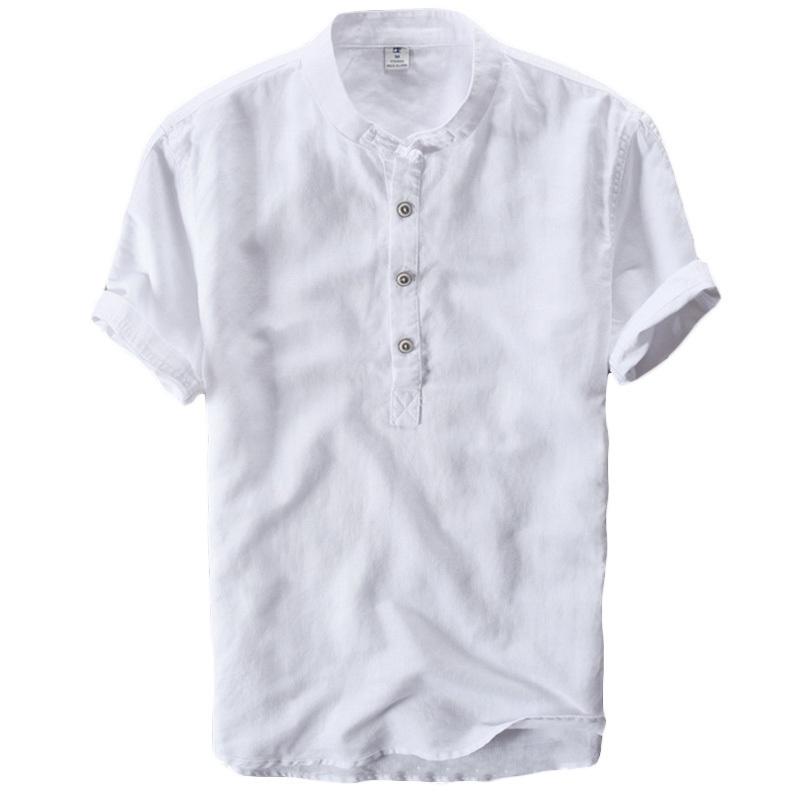 Helisopus Verano Algodón Sólido Lino Camiseta Hombres Botón de manga corta Estilo Chino Camiseta Hombres Retrol Stand Collar Camisetas 4xl Y190509
