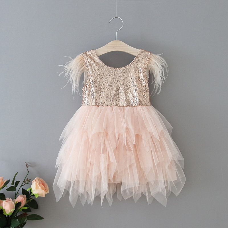 69-7-Feather Sequins Tiered Girls Dress