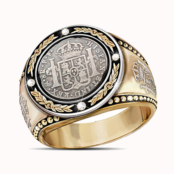 Unique Men's Two Tone 18K Gold Plating Diamond Ring El Cazador Symbol Fashion Ring Punk Jewelry Gifts For Men Size 7-13