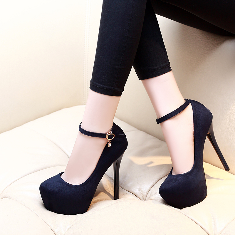 Gorgeous2019 Fine High With Occupation Circle Head Single Shoe Woman Evening Show Waterproof Platform One Buckle Bring Women's Shoes Autumn