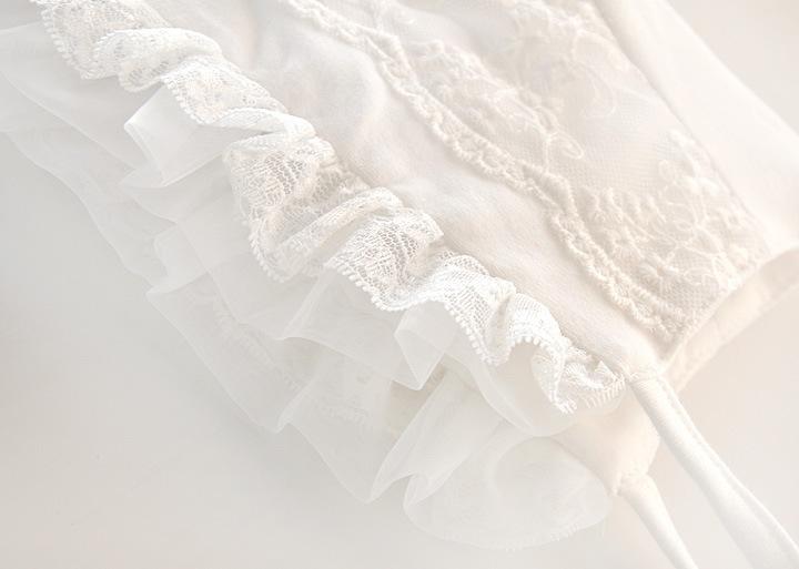 Filles Blanches Robe En Dentelle Printemps Automne Maille Tulle À Manches Longues Parti Mariage Robes Enfants Pour Les Filles Costumes De Noël Vêtements 0-12 m Y190516