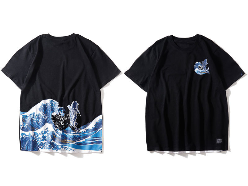 Japanese Ukiyo E Koi Printed Tshirts 1