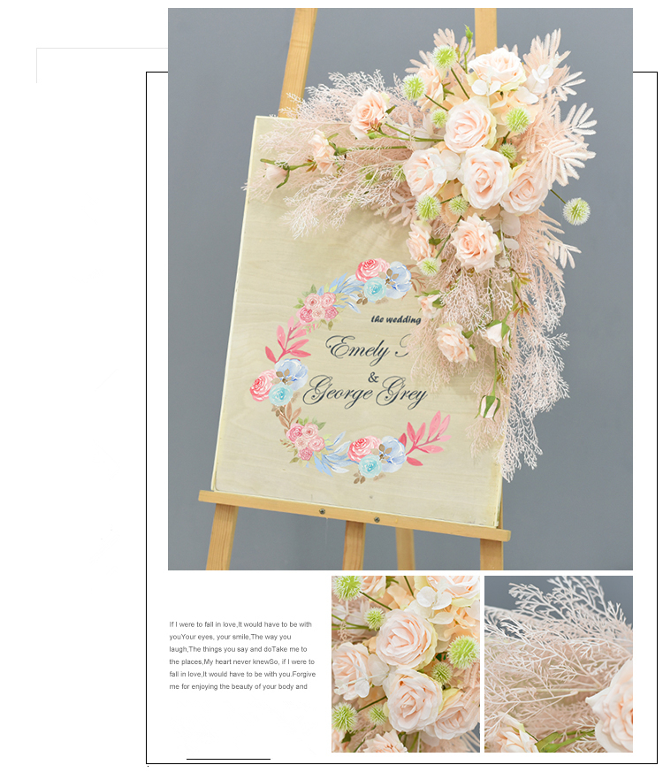 JAROWN Wedding Flower Row Welcome Sign Simulation Floral Hotel Creative Guide Decorations Photography Props Home Door Flower (15)